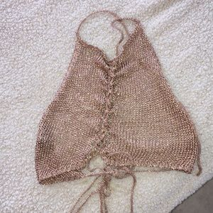 Knitted metallic halter top